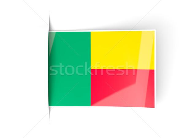 Piazza etichetta bandiera Benin isolato bianco Foto d'archivio © MikhailMishchenko