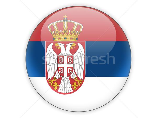 Icono bandera Serbia aislado blanco viaje Foto stock © MikhailMishchenko