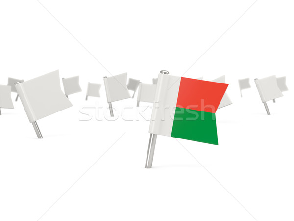 Photo stock: Carré · broches · pavillon · Madagascar · isolé · blanche