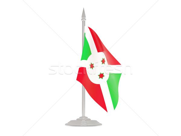 Bandeira Burundi mastro de bandeira 3d render isolado branco Foto stock © MikhailMishchenko
