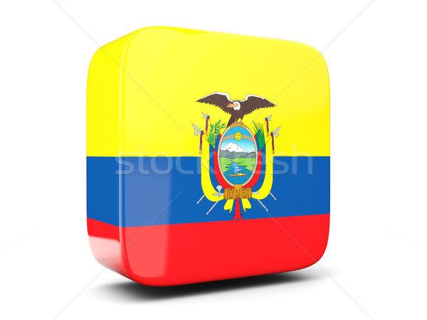 Vierkante icon vlag Ecuador 3d illustration geïsoleerd Stockfoto © MikhailMishchenko