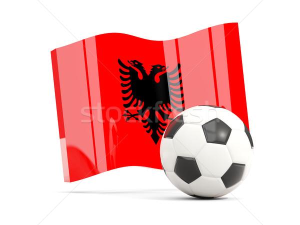 Football with waving flag of albania isolated on white Stock photo © MikhailMishchenko