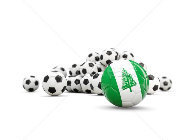 Football with flag of norfolk island isolated on white Stock photo © MikhailMishchenko