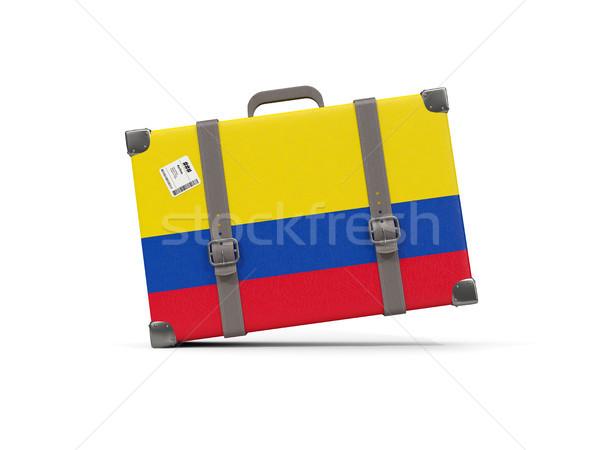 Bagażu banderą Kolumbia walizkę odizolowany biały Zdjęcia stock © MikhailMishchenko