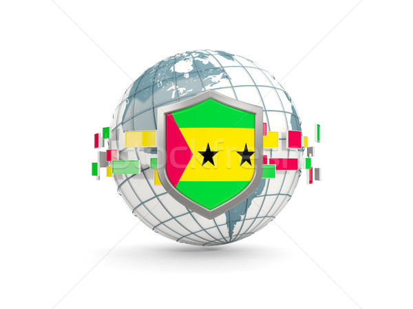 Globe and shield with flag of sao tome and principe isolated on  Stock photo © MikhailMishchenko