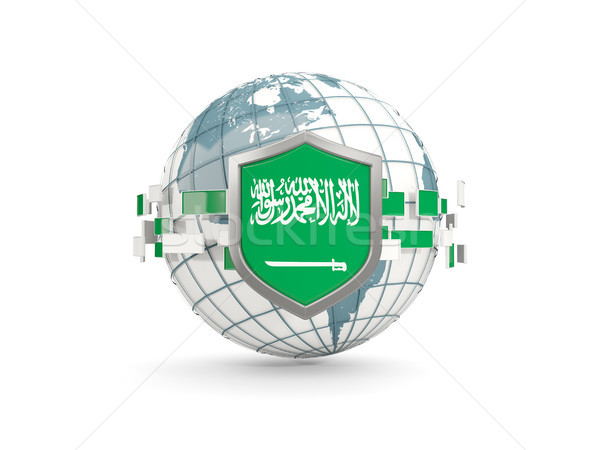 Wereldbol schild vlag Saoedi-Arabië geïsoleerd witte Stockfoto © MikhailMishchenko