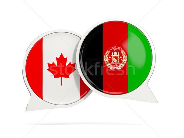 Conversar bubbles Canadá Afeganistão isolado branco Foto stock © MikhailMishchenko