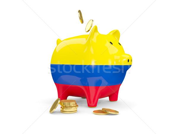 Yağ kumbara Kolombiya para yalıtılmış beyaz Stok fotoğraf © MikhailMishchenko