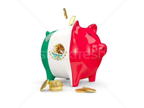 Fat piggy bank with fag of mexico Stock photo © MikhailMishchenko