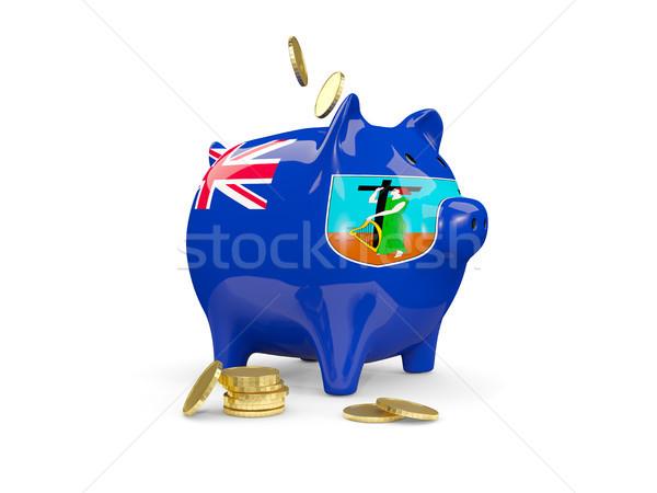Fat piggy bank with fag of montserrat Stock photo © MikhailMishchenko