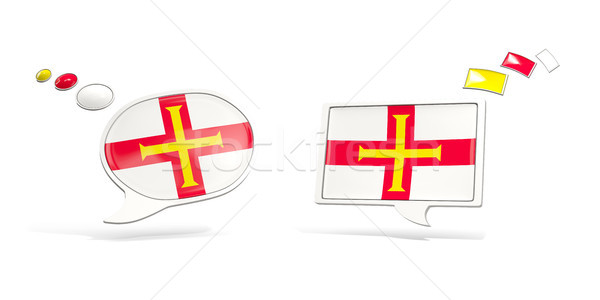 Two chat icons with flag of guernsey Stock photo © MikhailMishchenko
