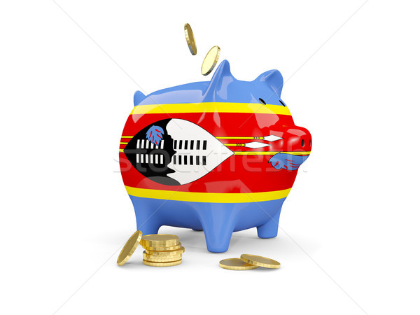Fat piggy bank with fag of swaziland Stock photo © MikhailMishchenko