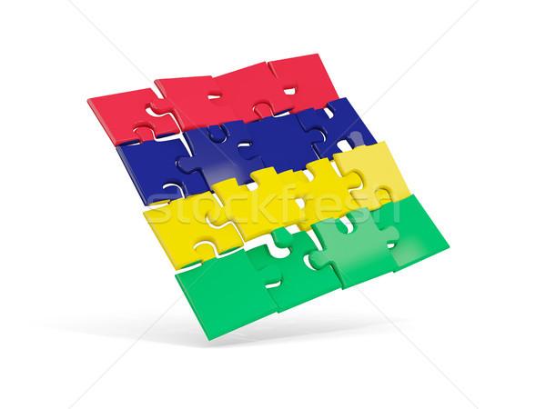 Puzzle banderą Mauritius odizolowany biały 3d ilustracji Zdjęcia stock © MikhailMishchenko