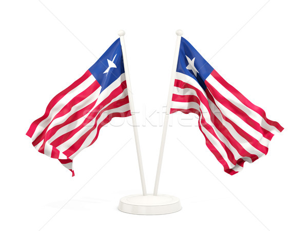 Two waving flags of liberia Stock photo © MikhailMishchenko