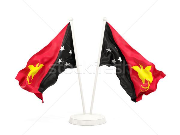 два флагами Папуа-Новая Гвинея изолированный белый Сток-фото © MikhailMishchenko
