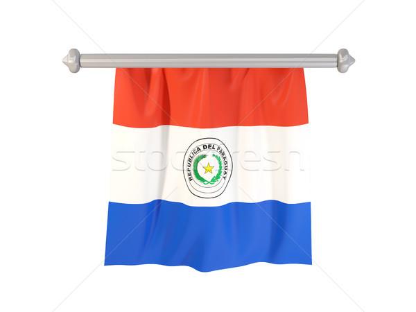 Banderą Paragwaj odizolowany biały 3d ilustracji etykiety Zdjęcia stock © MikhailMishchenko