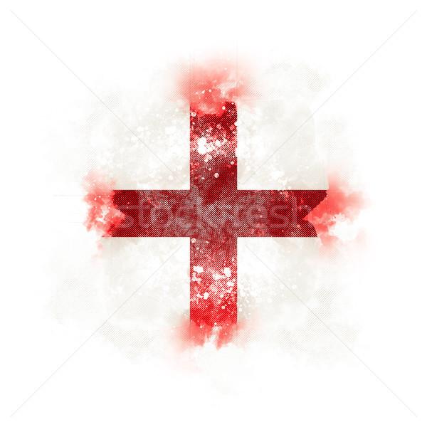 Square grunge flag of england Stock photo © MikhailMishchenko