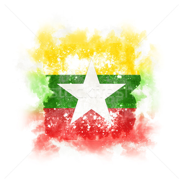 Vierkante grunge vlag Myanmar 3d illustration retro Stockfoto © MikhailMishchenko