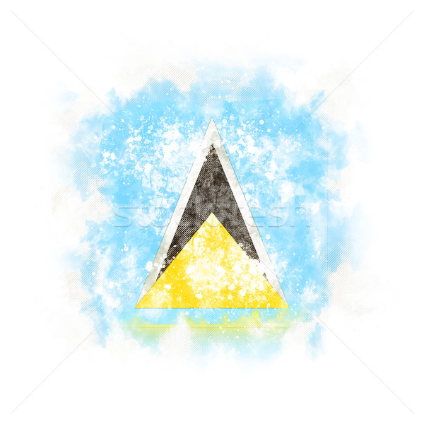 Square grunge flag of saint lucia Stock photo © MikhailMishchenko