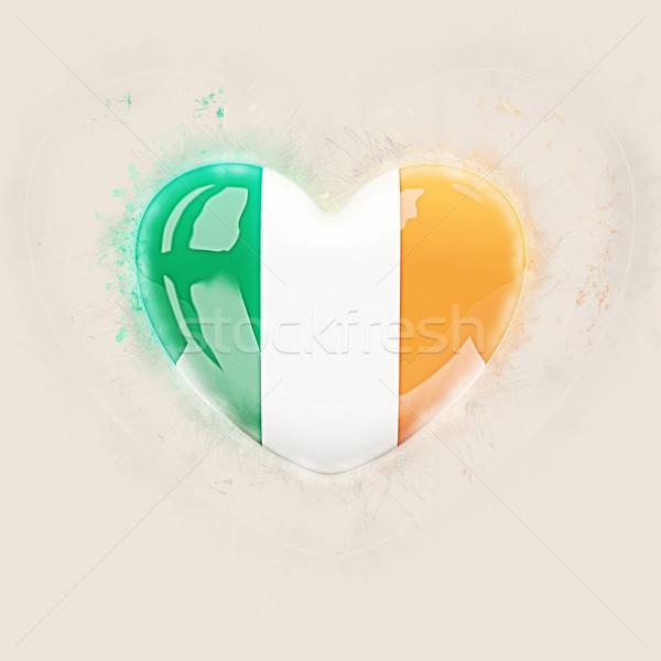 Kalp bayrak İrlanda grunge 3d illustration sevmek Stok fotoğraf © MikhailMishchenko