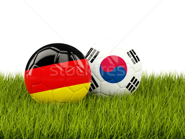 Germany vs South Korea. Soccer concept. Footballs with flags on  Stock photo © MikhailMishchenko
