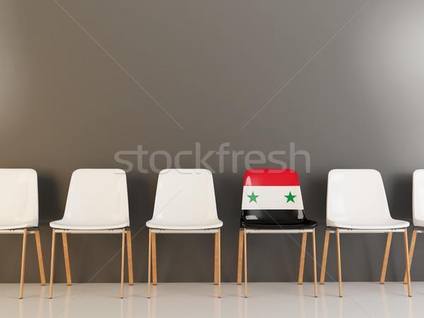 Stoel vlag Syrië rij witte stoelen Stockfoto © MikhailMishchenko
