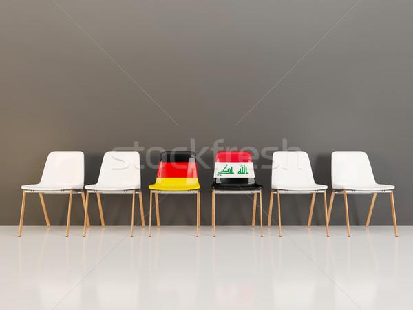 Stoelen vlag Duitsland Irak rij 3d illustration Stockfoto © MikhailMishchenko
