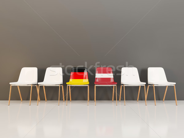 Chairs with flag of Germany and latvia in a row Stock photo © MikhailMishchenko