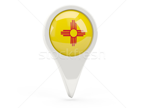 Round flag pin with flag of new mexico. United states local flag Stock photo © MikhailMishchenko