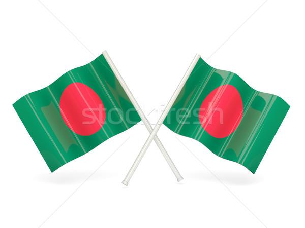 Bandeira Bangladesh dois ondulado bandeiras isolado Foto stock © MikhailMishchenko