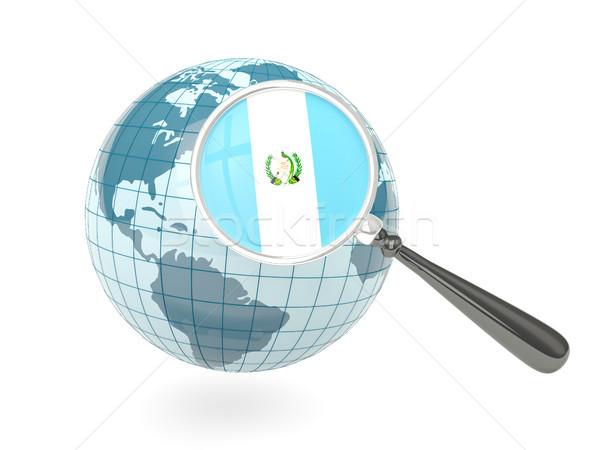 Stock fotó: Nagyított · zászló · Guatemala · kék · földgömb · izolált