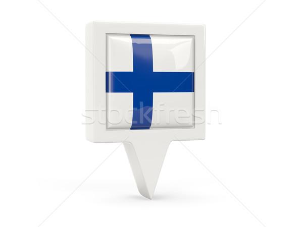 Tér zászló ikon Finnország izolált fehér Stock fotó © MikhailMishchenko