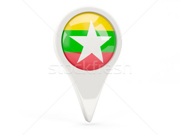 Bayrak ikon Myanmar yalıtılmış beyaz harita Stok fotoğraf © MikhailMishchenko