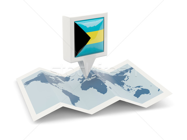 Square pin with flag of bahamas on the map Stock photo © MikhailMishchenko