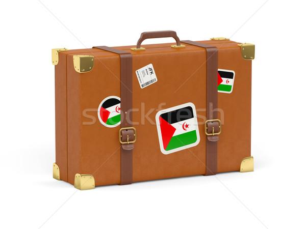 Bőrönd zászló western Szahara utazás izolált Stock fotó © MikhailMishchenko