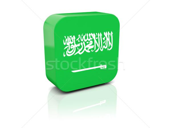 Praça ícone bandeira Arábia Saudita reflexão branco Foto stock © MikhailMishchenko