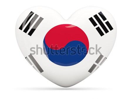 сердце икона флаг Южная Корея изолированный Сток-фото © MikhailMishchenko
