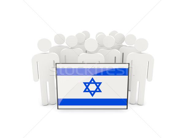 Mensen vlag Israël geïsoleerd witte menigte Stockfoto © MikhailMishchenko
