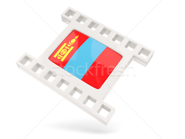 Film icon vlag Mongolië geïsoleerd witte Stockfoto © MikhailMishchenko