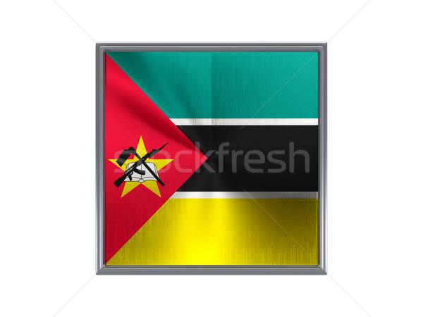 Praça metal botão bandeira Moçambique isolado Foto stock © MikhailMishchenko