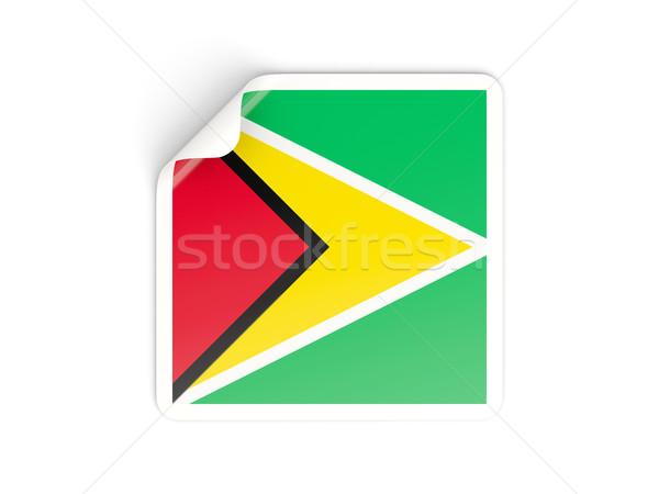 Vierkante sticker vlag Guyana geïsoleerd witte Stockfoto © MikhailMishchenko