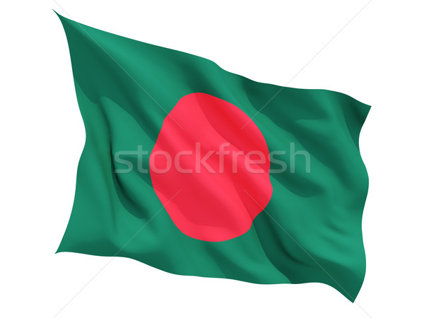 Foto stock: Bandeira · Bangladesh · isolado · branco