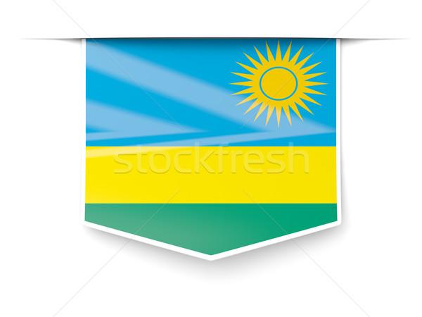 квадратный Label флаг Руанда изолированный белый Сток-фото © MikhailMishchenko