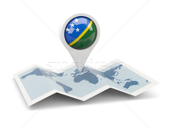 Pin bandiera Isole Salomone mappa viaggio bianco Foto d'archivio © MikhailMishchenko