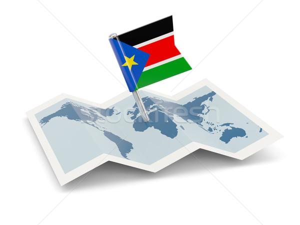 Térkép zászló dél Szudán izolált fehér Stock fotó © MikhailMishchenko