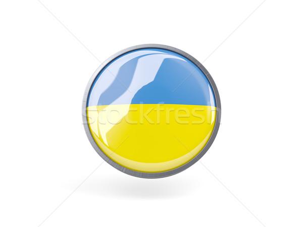 ícone bandeira Ucrânia metal quadro viajar Foto stock © MikhailMishchenko