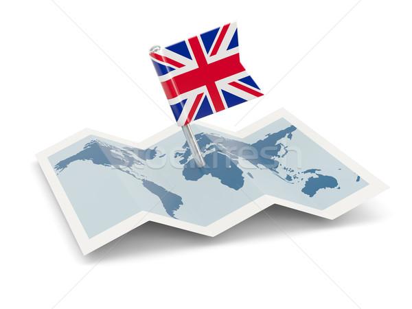 Foto d'archivio: Mappa · bandiera · Regno · Unito · isolato · bianco