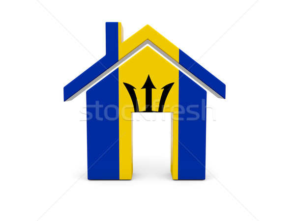 Casa bandeira Barbados isolado branco pesquisar Foto stock © MikhailMishchenko