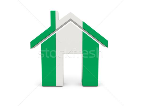 Casa bandeira Nigéria isolado branco pesquisar Foto stock © MikhailMishchenko