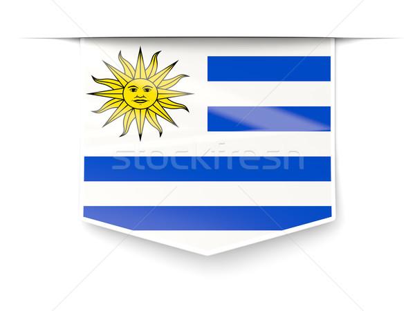 Piazza etichetta bandiera Uruguay isolato bianco Foto d'archivio © MikhailMishchenko